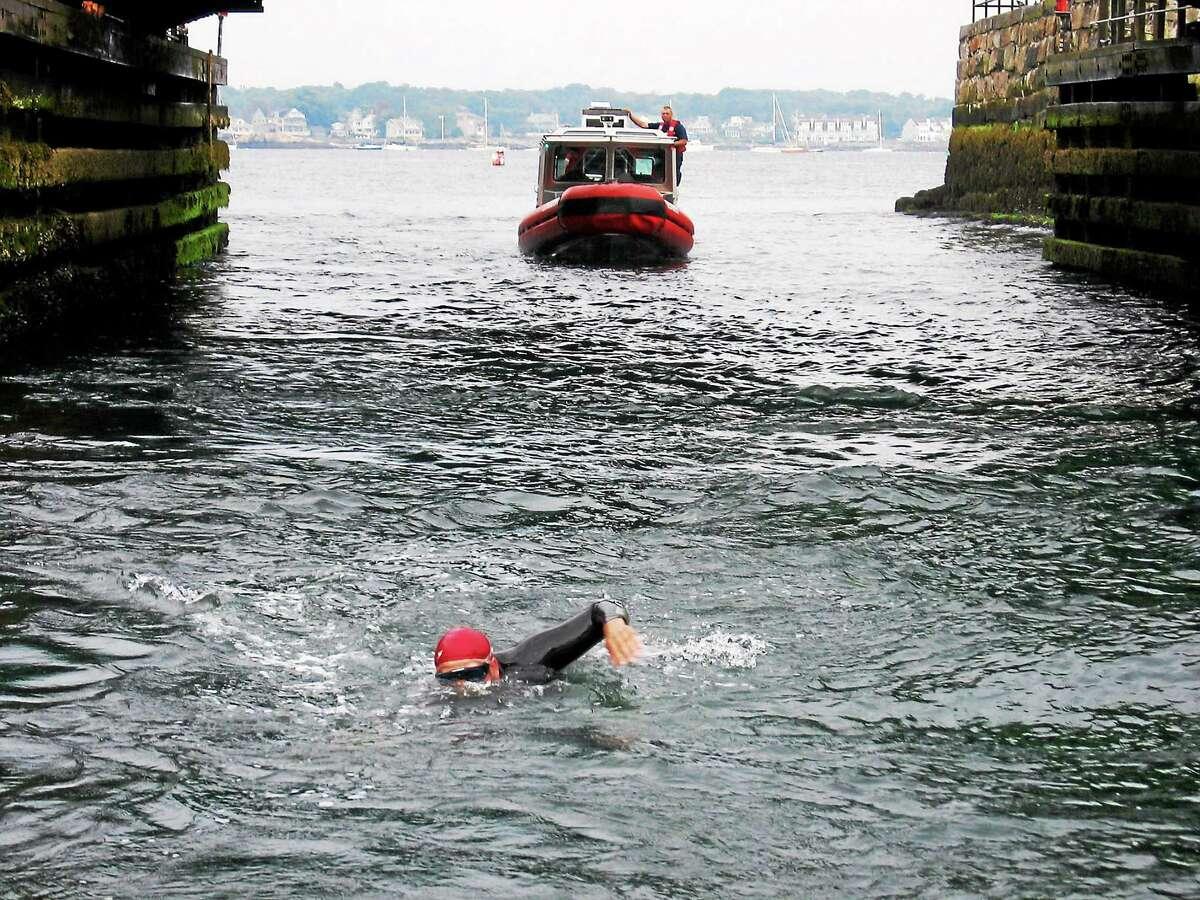 Fred Brooke on his swim.