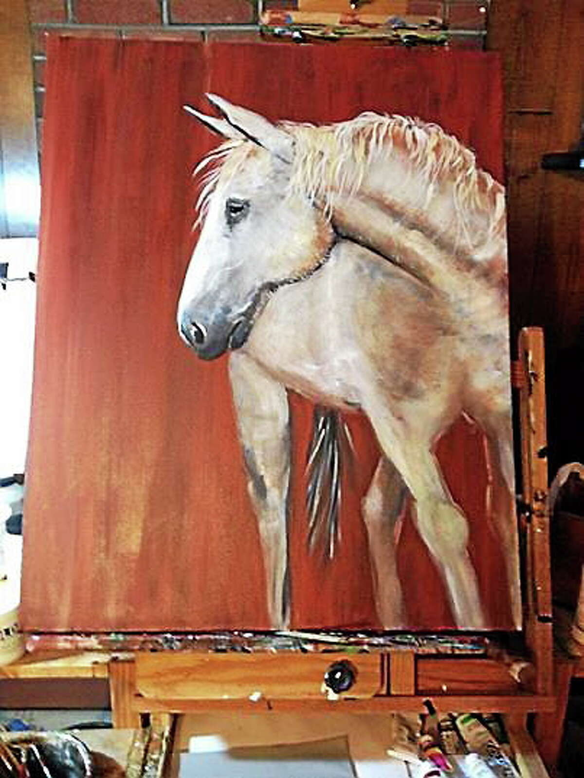 """Submitted photo Paintings such as """"Old Gray Mare"""" by Portland artist Paula Slym are on display though the end of the month."""