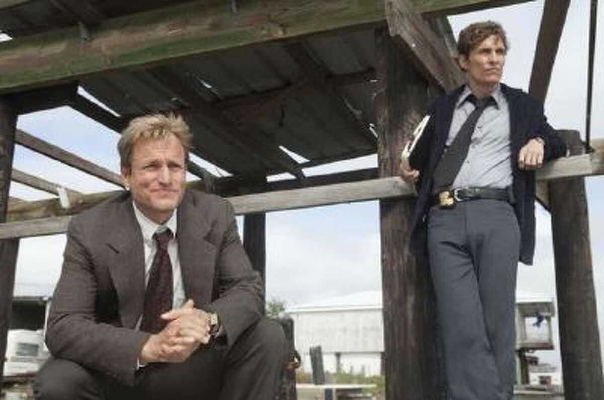 """In """"True Detective, """" Martin Hart (Woody Harrelson) and Rust Cohle (Matthew McConaughey) separately recount their story of a murder case and their lives with flashbacks that move back and forth from 1995 to 2012 and 2002."""