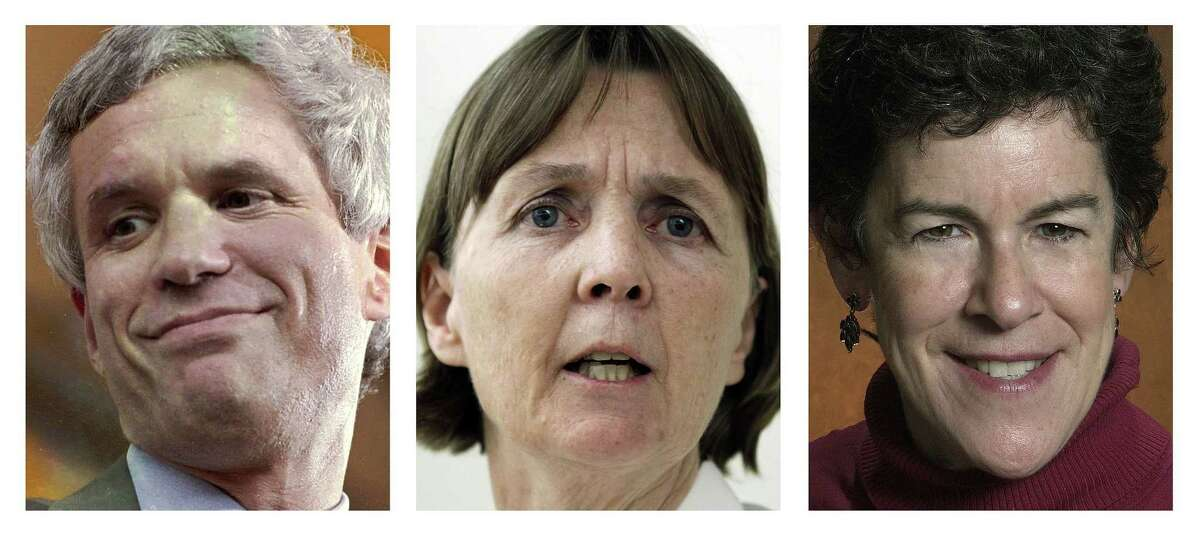 FILE - This panel of file photos shows attorneys David Bruck, left, July Clarke, center, and Miriam Conrad, right, who are the defense team for Boston Marathon bombing suspect Dzhokhar Tsarnaev. Jury selection for Tsarnaev's trial is scheduled to begin Monday, Jan. 5, 2015, in federal court in Boston. (AP Photos/File)