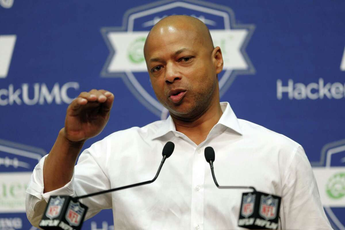 New York Giants general manager Jerry Reese speaks during a news conference on Thursday in East Rutherford, N.J.