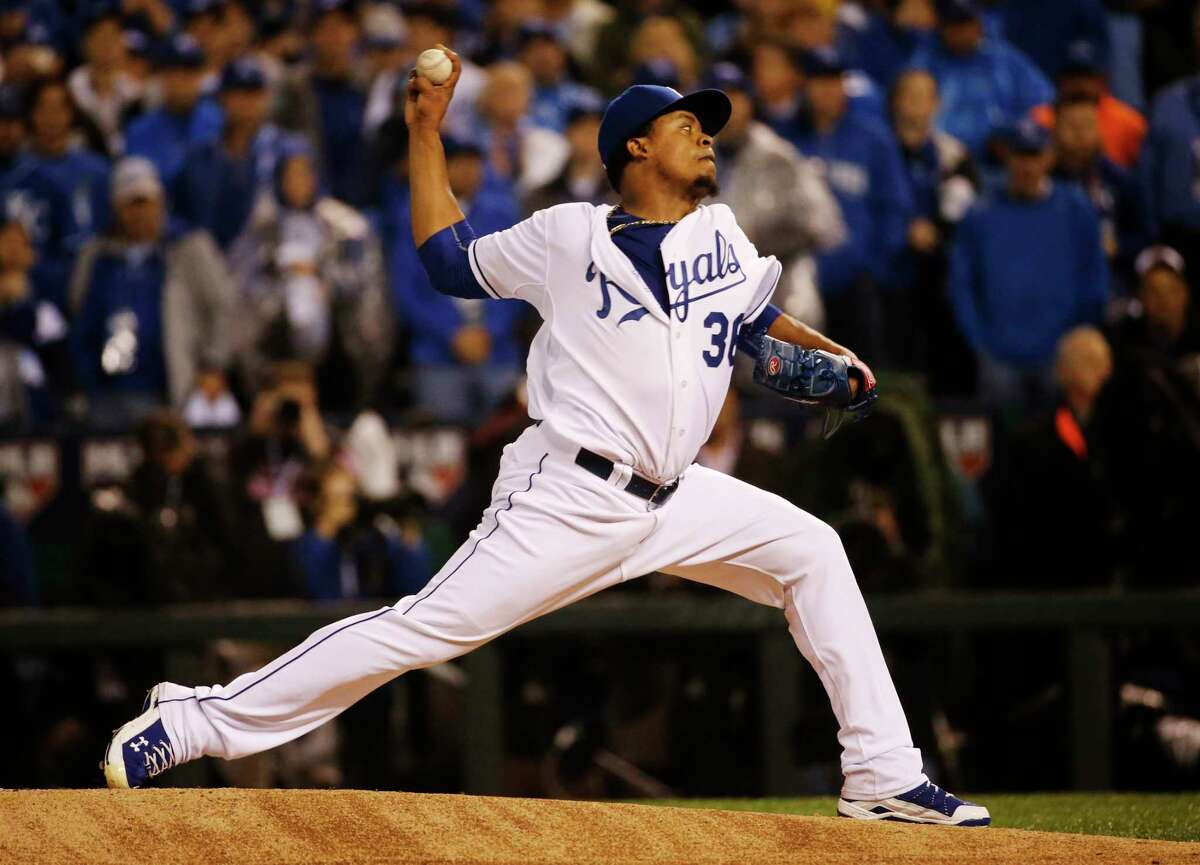 Kansas City Royals pitcher Edinson Volquez throws during the first inning of Game 1 of the World Series on Tuesday.