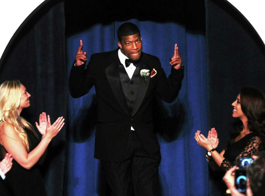 Florida State quarterback Jameis Winston was honored as the player of the year at the 47th annual Walter Camp National Awards Dinner held Saturday night at the Yale Commons. Photo: Mara Lavitt — Register  / Mara Lavitt