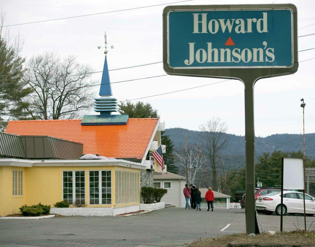 Customers walk into Howard Johnson's Restaurant in Lake George, N.Y.