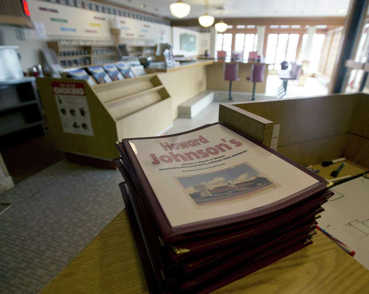 Menus are stacked at a Howard Johnson's Restaurant in Lake George, N.Y.