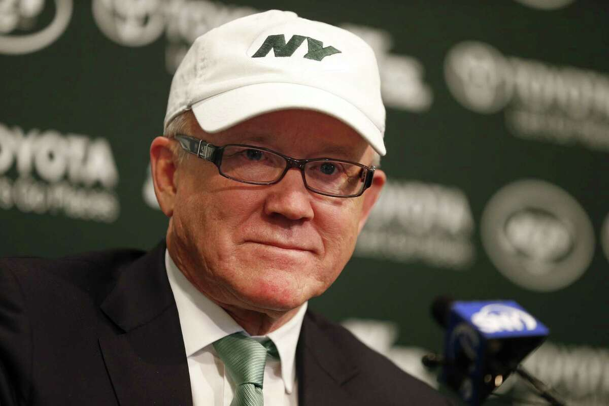 New York Jets owner Woody Johnson announces the firing of head coach Rex Ryan and general manager John Idzik on Monday in Florham Park, N.J.