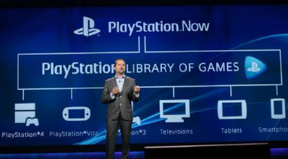 Andrew House, president and group CEO, Sony Computer Entertainment, announces PlayStation Now streaming game service during the keynote address by Sony CEO and President Kazuo Hirai on the opening day of the 2014 International CES on January 7, 2014 in Las Vegas, Nevada.