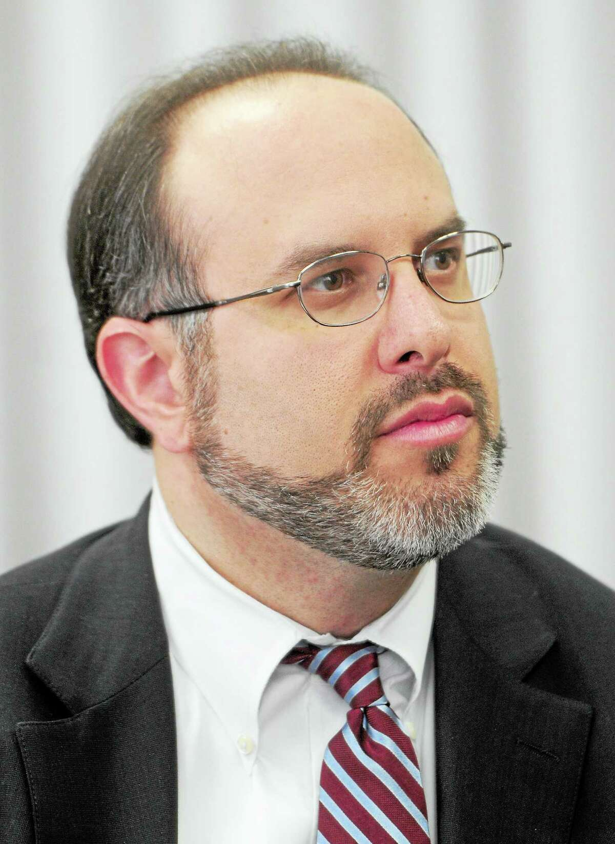 (Photo by Peter Hvizdak-New Haven Register) Stefan Pryor, Commissioner of Education for the State of Connecticut, speaks to the New Haven Register Editorial BoardTuesday, March 11, 2014 in New Haven.