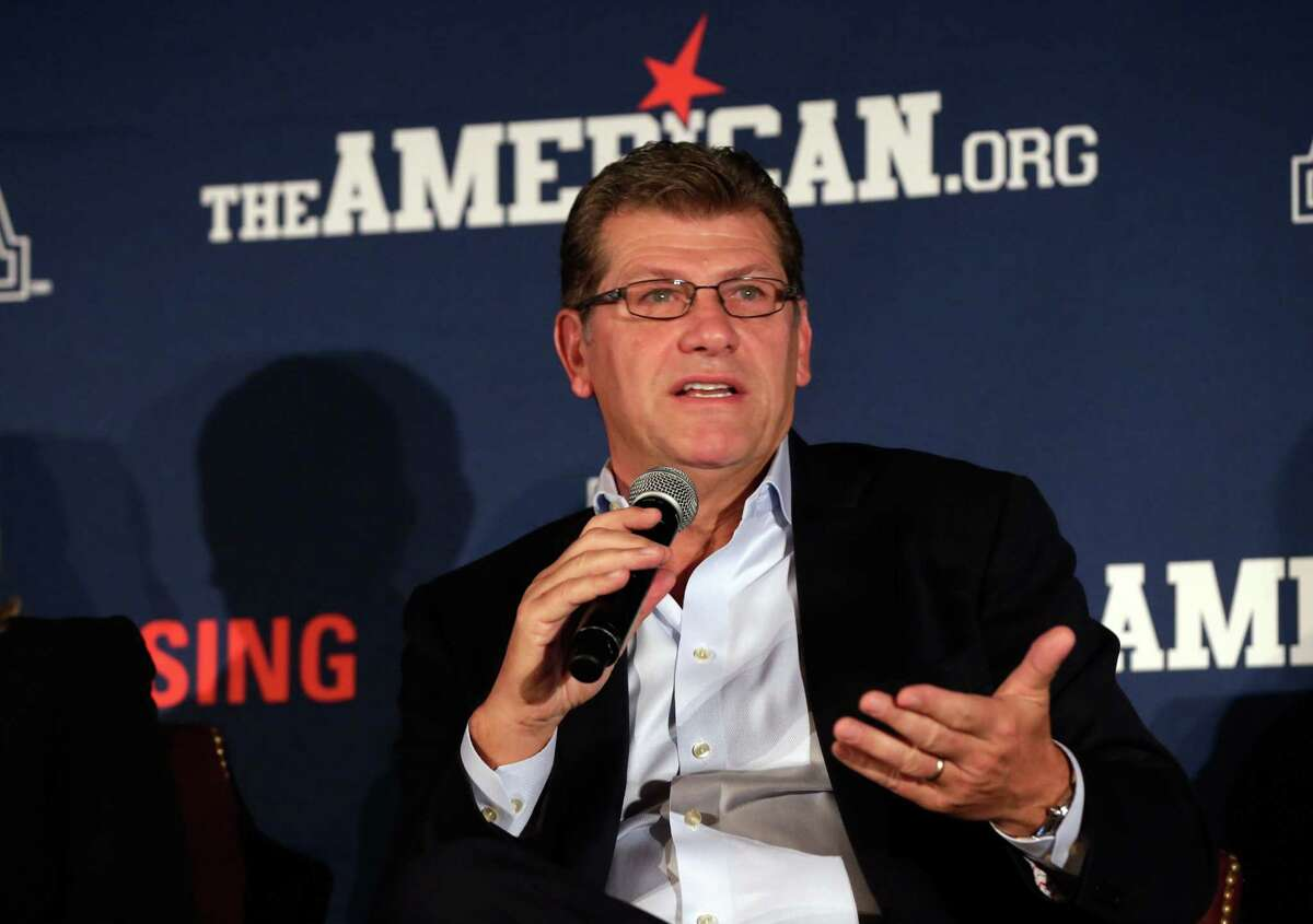 UConn women's basketball coach Geno Auriemma is interviewed during the American Athletic Conference media day on Thursday in New York.