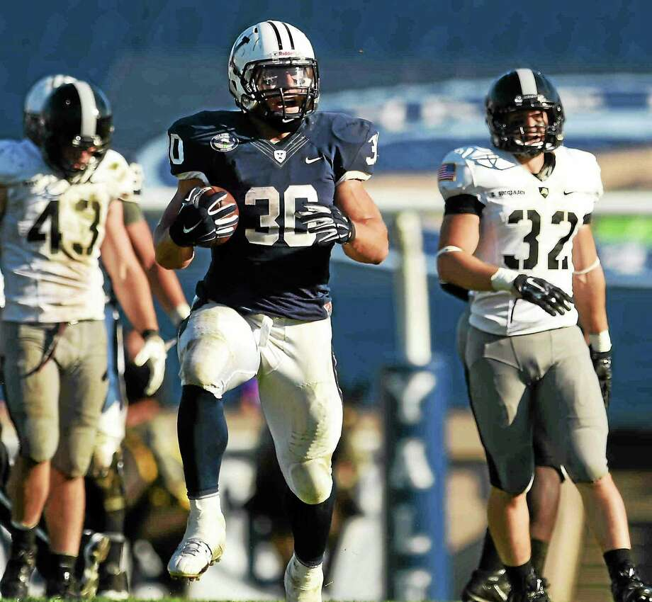 Yale senior running back Tyler Varga is one of 17 National Football Foundation Scholar-Athletes. Photo: Peter Hvizdak — Register  / Peter Hvizdak