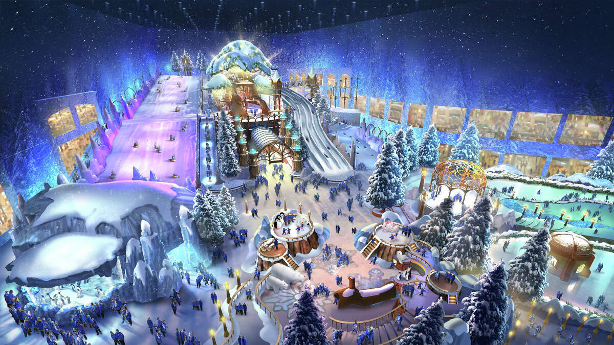 """This image released by officials with Abu Dhabi's Reem Mall shows an artist rendering of a 125,000-square-foot (11,600-square-meter) snow park inside the mall, which is scheduled to open in 2018 in Abu Dhabi, United Arab Emirates. In a statement Wednesday, Oct. 28, 2015, the developers say the park will include opportunities to luge and """"zorbing"""" — which, for the uninitiated, involves rolling down a hill in a giant ball made of transparent plastic. (Reem Mall via AP)"""