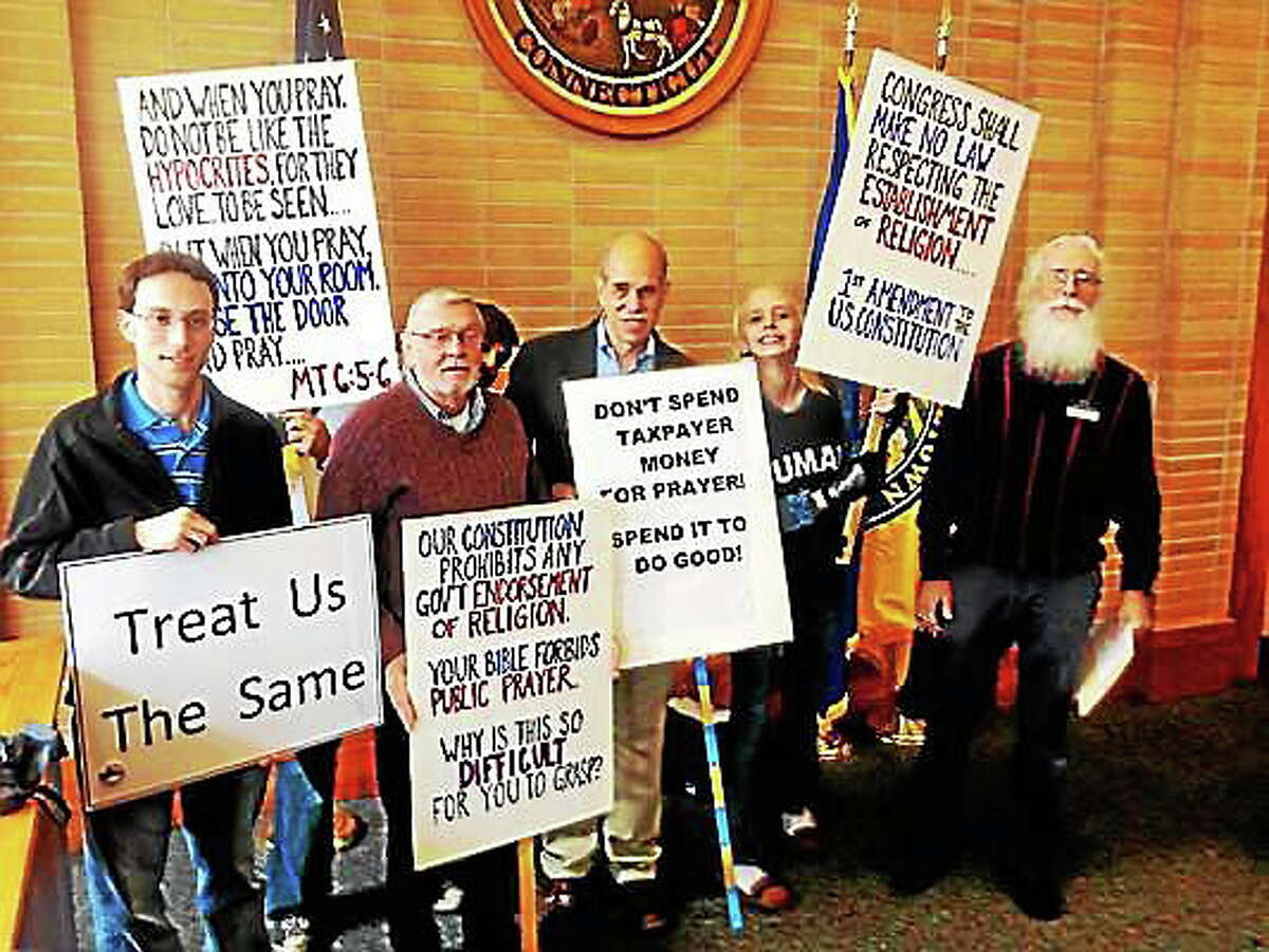 Alex Gecan - The Middletown PressProtestors objected to observance of a national day of prayer at City Hall Thursday.