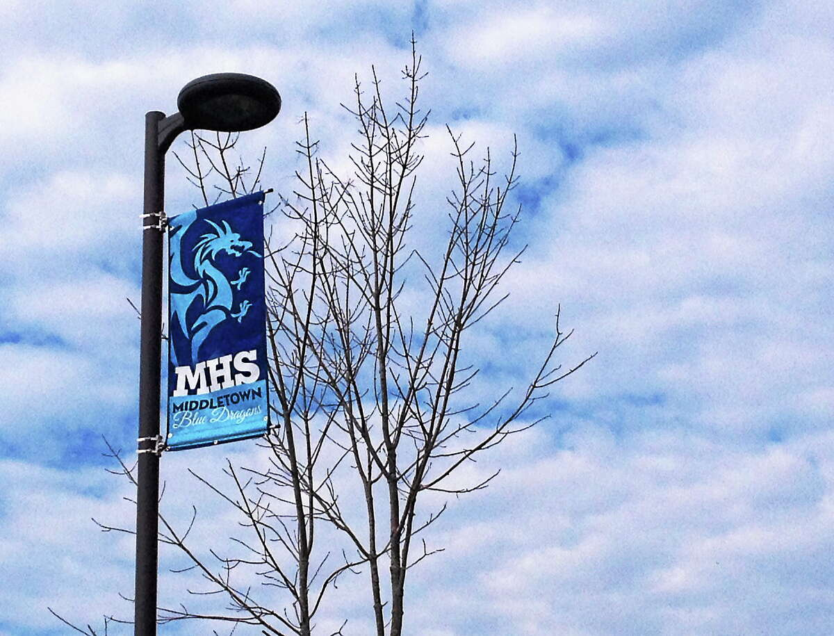 Middletown High School's welcome banners along LaRosa Lane.
