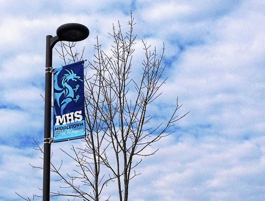 Middletown High School's welcome banners along LaRosa Lane. Photo: Cassandra Day — The Middletown Press