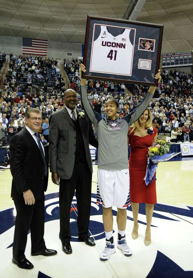 UConn's Kiah Stokes celebrates Senior Day before the No. 1 Huskies' 87-24 win on over Memphis on Saturday in Storrs. Photo: Fred Beckham — The Associated Press  / FR153656 AP