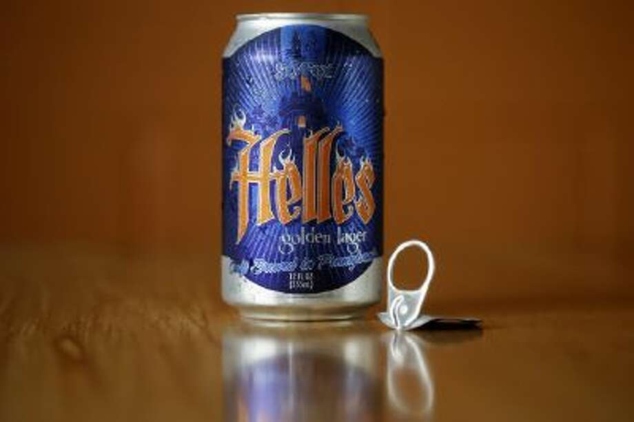 Displayed is a can of Helles Golden Lager with a 360 Lid, at the Sly Fox Brewing Company, Monday, June 3, 2013, in Pottstown, Pa.