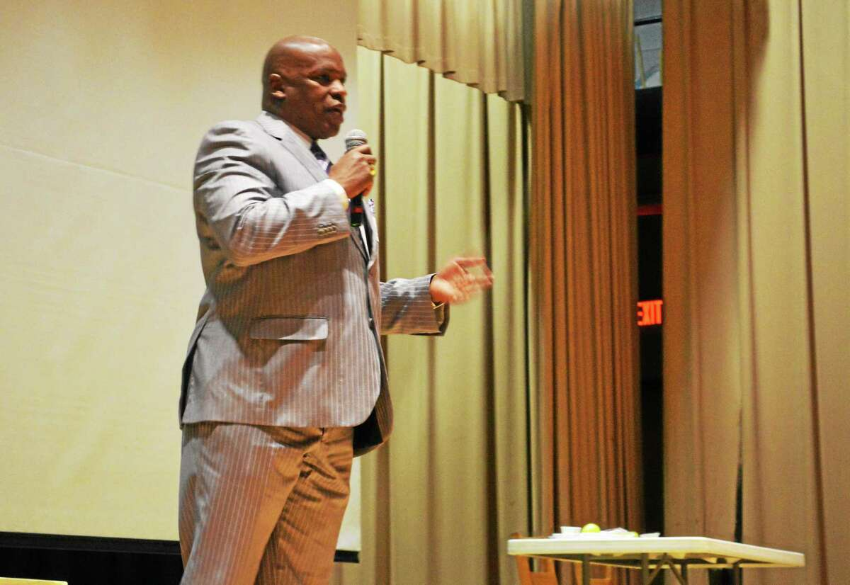 """Retired Hartford Police Chief Daryl Roberts told Keigwin Middle School students that if they report bullying, they are not """"snitches."""""""