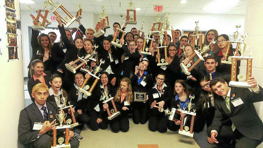 Middletown High School DECA students recently had 39 winners in a statewide competition at the Aquaturf in Southington. Photo: Contributed Photo