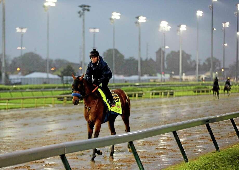 An exercise rider takes Hoppertunity for a morning workout at Churchill Downs on Monday in Louisville, Ky. The second favorite for the Kentucky Derby is now out of the race with a sore foot. Photo: Charlie Riedel — The Associated Press  / AP