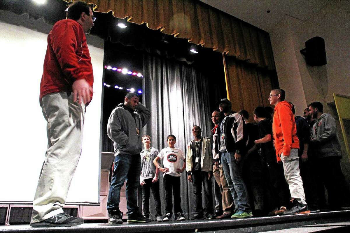 Wesleyan student athletes made an appearance at Woodrow Wilson Middle School Friday, participating in some off-the-cuff skits to illustrate how the positive social support would look.