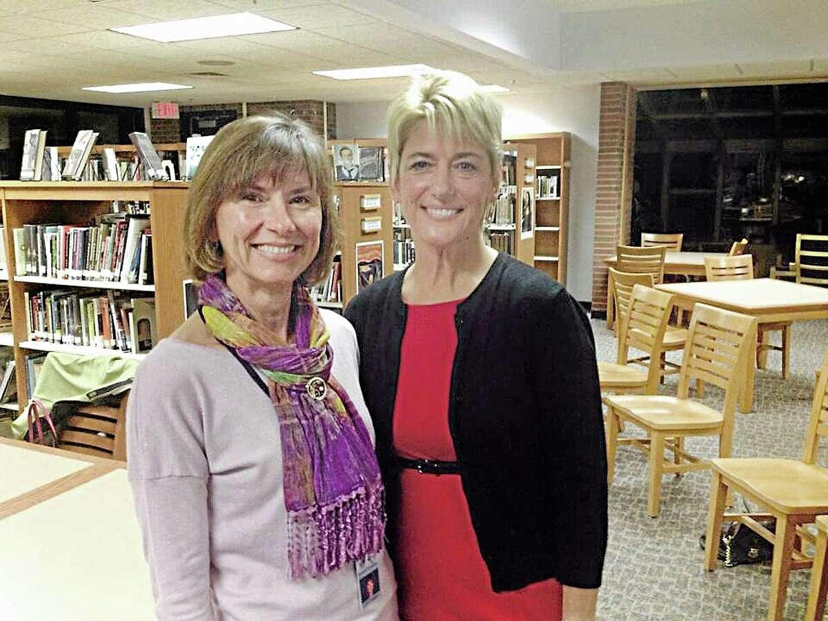 Board of Education Chairwoman Kerrie Flanagan, left, with new Region 13 Superintendent Kathryn Veronesi.
