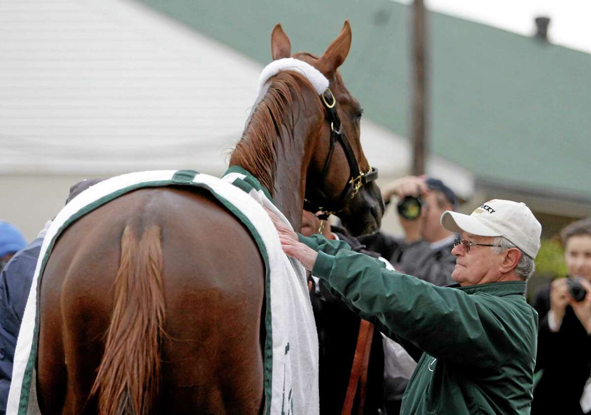 Trainer Art Sherman looks at Kentucky Derby entrant California Chrome after a morning workout at Churchill Downs Thursday in Louisville, Ky.