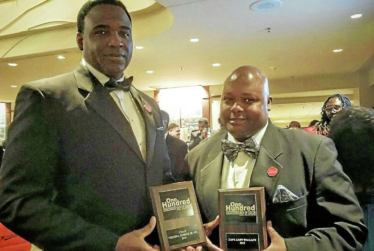 Courtesy photo Waterbury Chief of Police Vernon Riddick and Middletown Police Capt. Gary Wallace attended the recent 100 Men of Color black tie gala and awards ceremony at the Bushnell in Hartford.