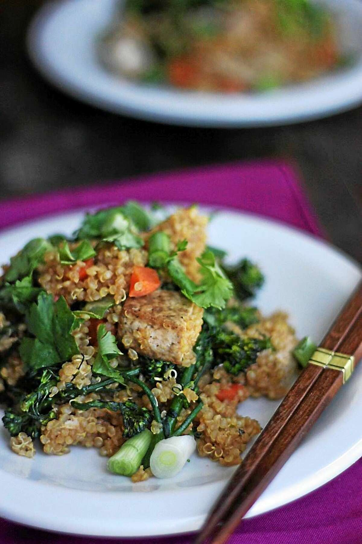 Vegetable fried quinoa with tofu, a twist on the Chinese takeout staple, is served at I.O.N. Restaurant in Middletown.