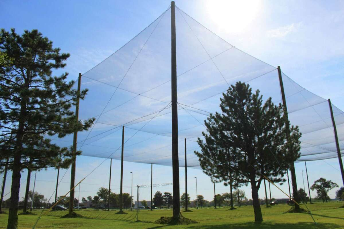 This photo provided by Kansas State University Polytechnic Campus shows the school's new drone testing pavilion for unmanned aircraft systems, where researchers can test the drones in lifelike situations without risking safety.