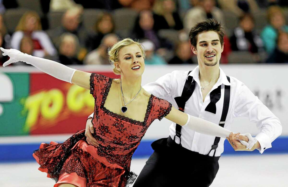 Madison Hubbell, left, and Zachary Donohue compete in the short dance program at the U.S. figure skating championships in 2013.