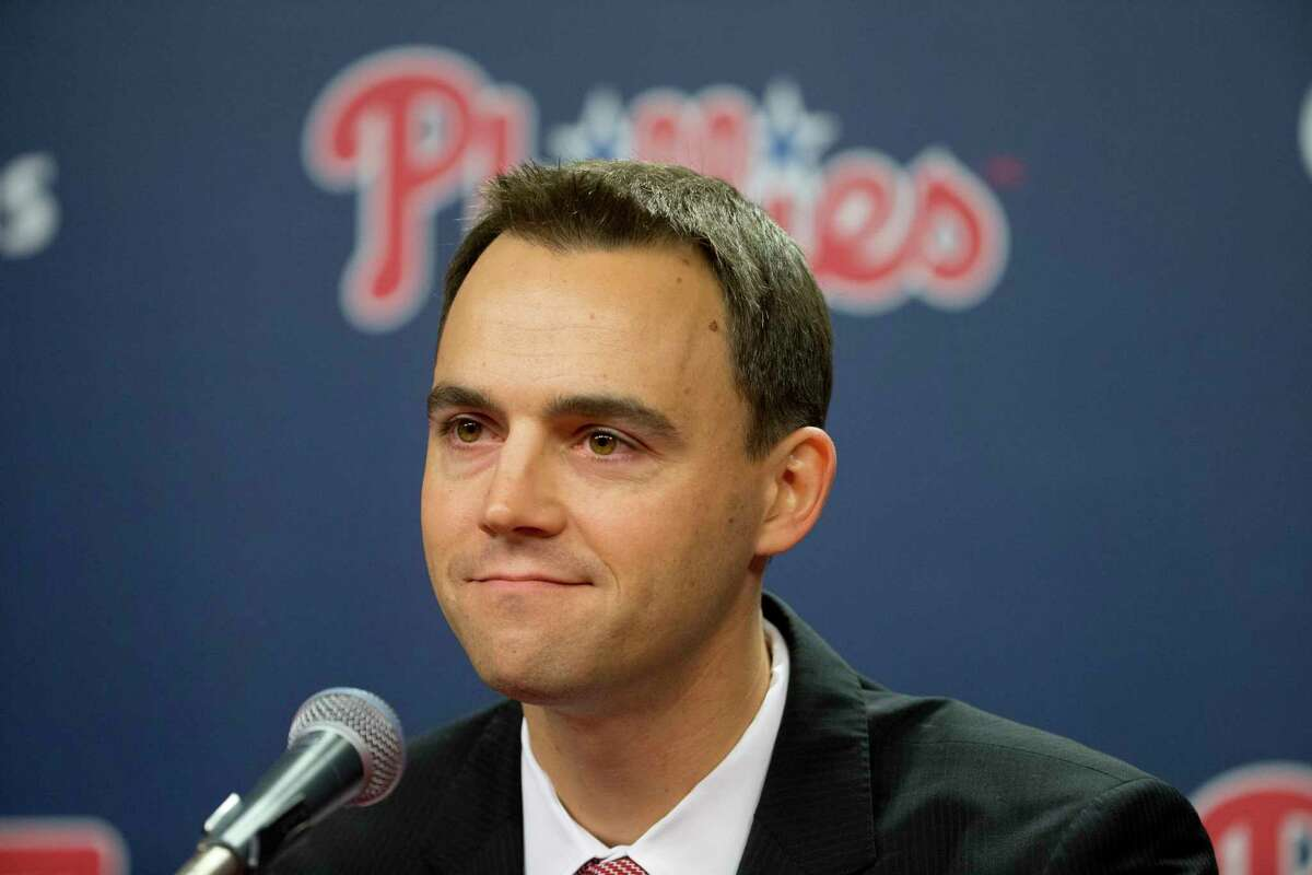 The Phillies introduced general manager and vice president Matt Klentak during a news conference Monday in Philadelphia.