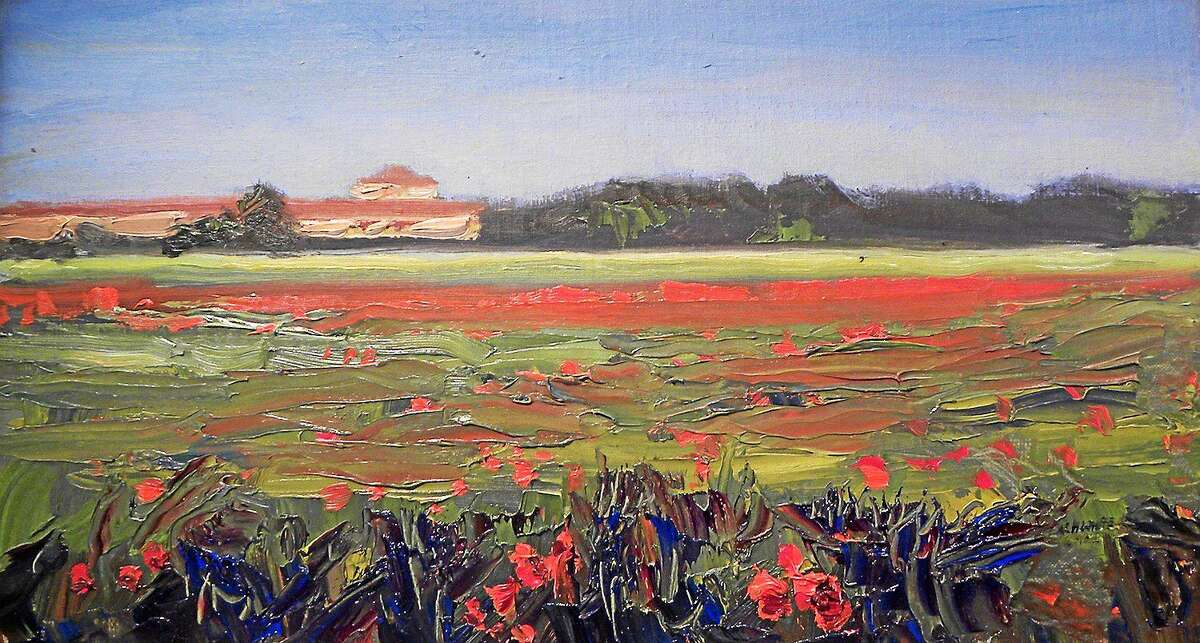 """""""Tuscan Poppy Field"""" Nelson H. White, 9 x 16 inches, oil, 2010"""