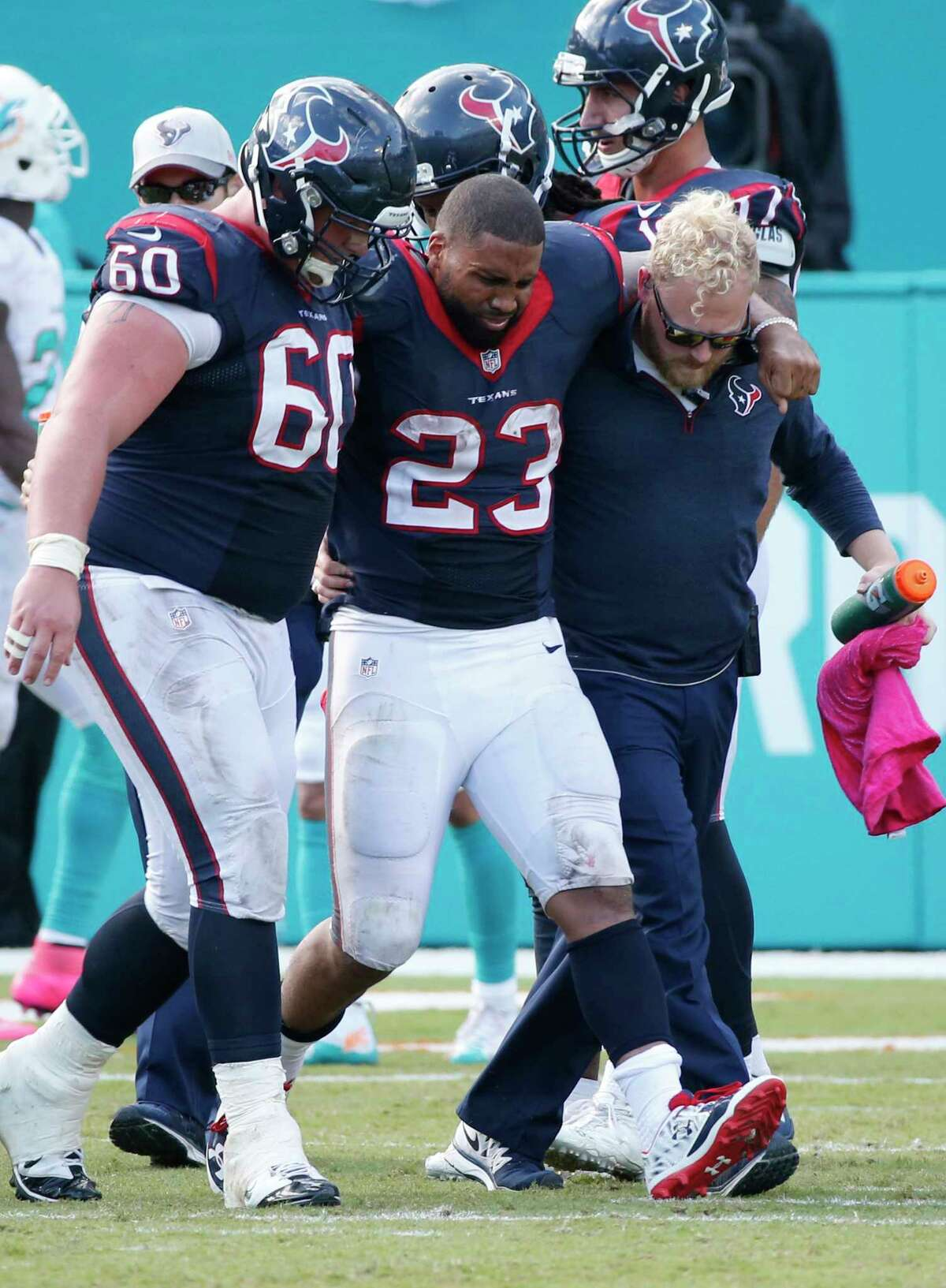 Houston Texans running back Arian Foster (23) is out for the season.