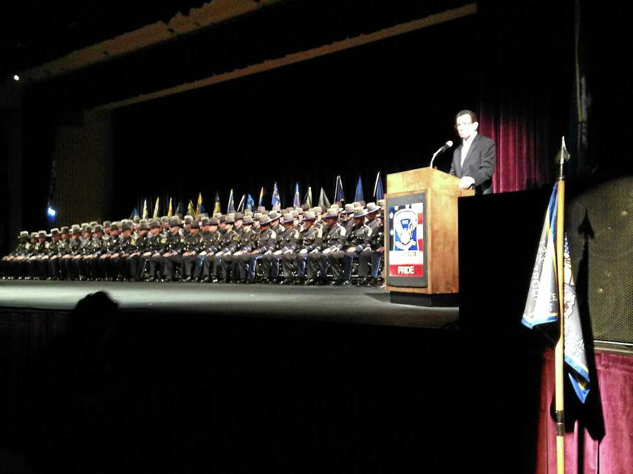 Gov. Dannel P. Malloy on Thursday joined the Connecticut State Police command staff at the graduation ceremony for 83 new state troopers, all members of the 123rd Training Troop. Photo: Submitted Photo