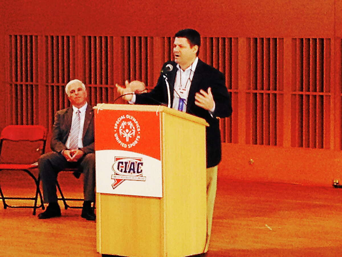 NBC Connecticut sportscaster Kevin Nathan addresses a crowd of students during Thursday's Youth Leadership Summit at Wesleyan University in Middletown.
