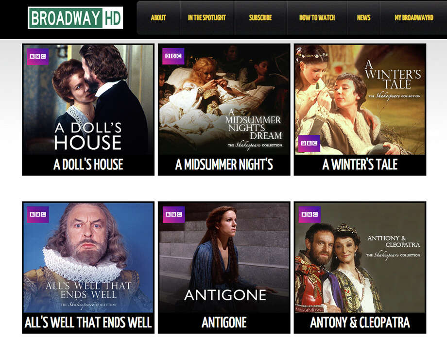 This screen image provided by BroadwayHD shows the home page for the new online streaming service offering high-definition broadcasts of top theatrical events to computers and phones. The service is scheduled to launch Monday, Oct. 26, 2015. Photo: BroadwayHD Via AP  / BroadwayHD