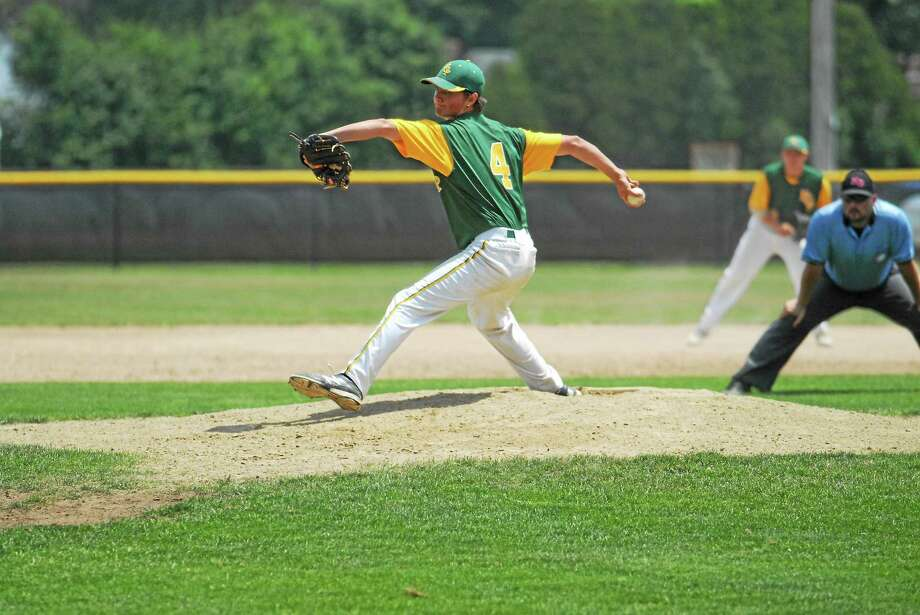 RCP's Tucker Lord earned the complete game win in Game 2 of  Post 105's Sunday sweep over Hartford at Cromwell's Monnes Field. Photo: Jimmy Zanor — Middletown Press