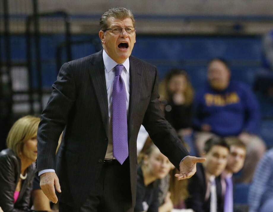 Coach Geno Auriemma and UConn will honor Husky seniors, including student-manager Carley Mooney of Killingworth, on Saturday. Photo: Sue Ogrocki — The Associated Press  / AP