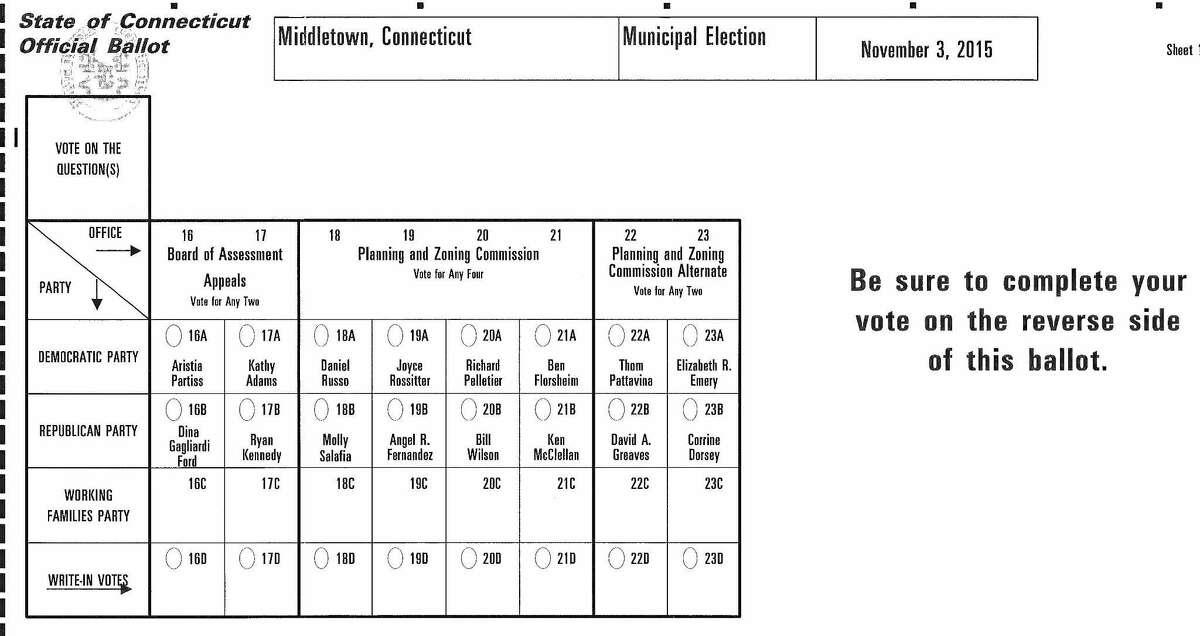 Sample ballot for Middletown Election Day