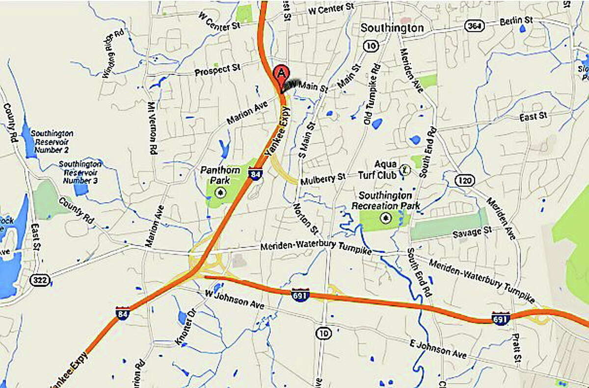 A map showing the area where Interstate 84 was closed this weekend for a replacement of two bridge sections.