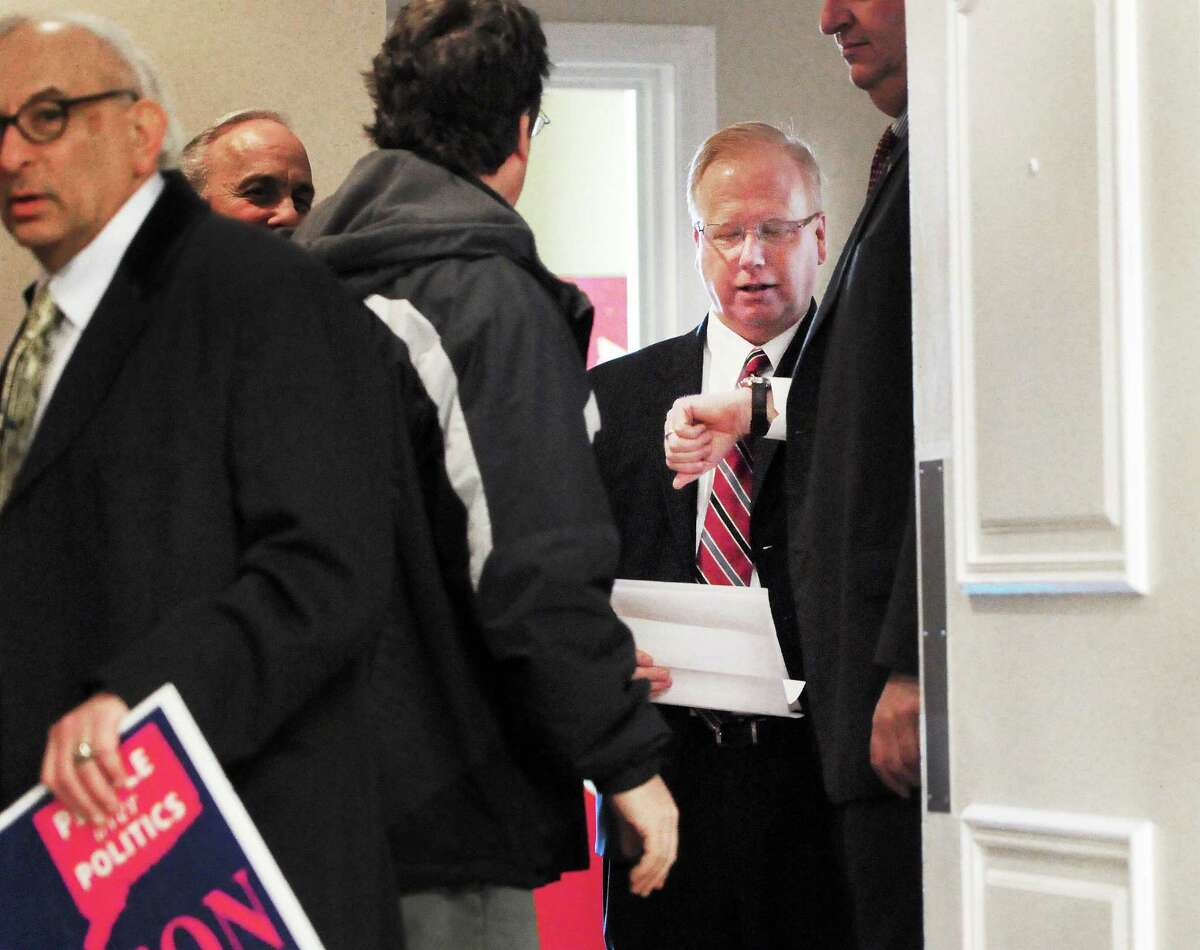 (Photo by Peter Hvizdak ó New Haven Register) Danbury Mayor Mark Boughton, a Republican, waits in a hallway before holding a press conference at the Holiday Inn in Danbury Wednesday morning January 8, 2014 announcing his candidacy for Connecticut Governor.