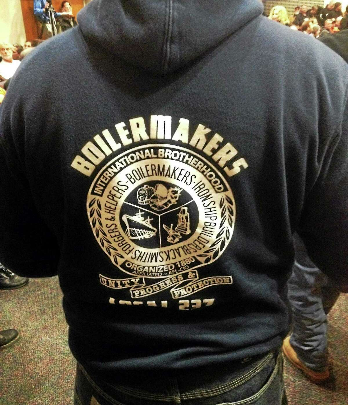 Members of the International Brotherhood of Boilermakers, Iron Ship Builders, Blacksmiths, Forgers and Helpers labor union attended Tuesday night's hearing.