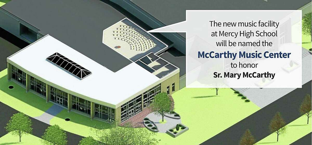 Renderings for the Mercy High School music center which will be named for President Sister Mary McCarthy.