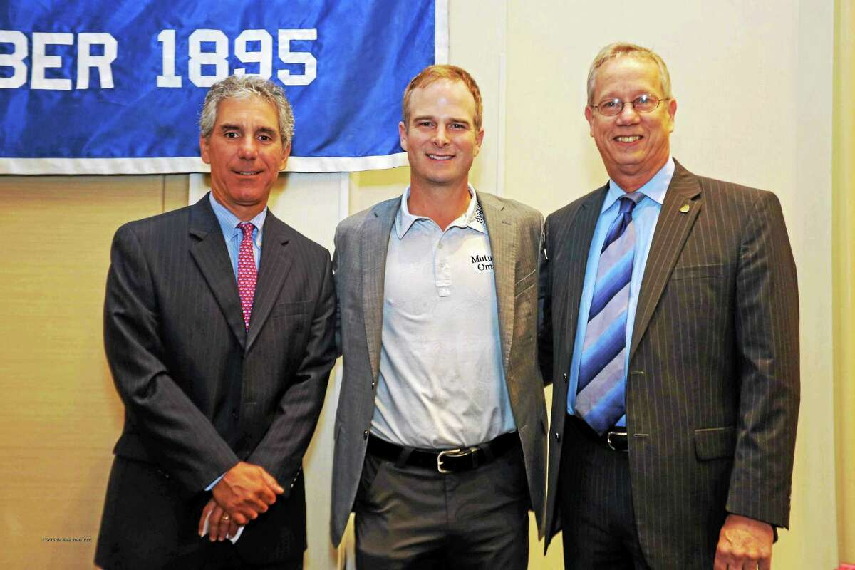 From left, Middlesex Hospital CEO and Chamber Chairman Vin Capece, PGA Pro Kevin Streelman, Essex Savings Bank President and Chamber Vice Chairman Greg Shook are shown at the 2015 Travelers Championship member breakfast last week in Cromwell.