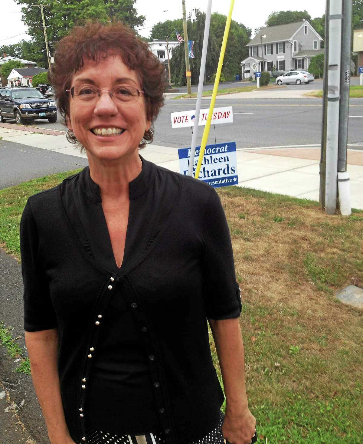 Jeff Mill - The Middletown Press Deputy First Selectwoman of Portland Kathy Richards outside her headquarters before the votes were tallied on primary night