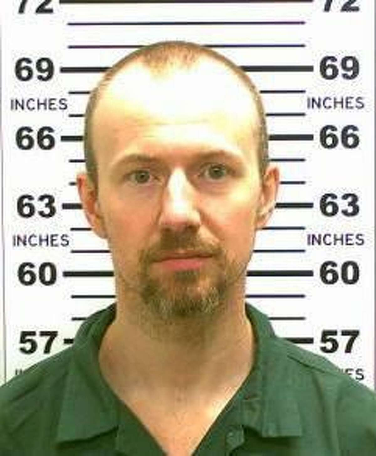 FILE - This May 21, 2015, file photo released by the New York State Police shows David Sweat. Sweat, the second of two convicted murderers who staged a brazen escape from an upstate maximum-security prison three weeks ago, was shot and captured Sunday, June 28, 2015, two days after his fellow inmate was killed in a confrontation with law enforcement officers, a sheriff said. (New York State Police via AP, File)