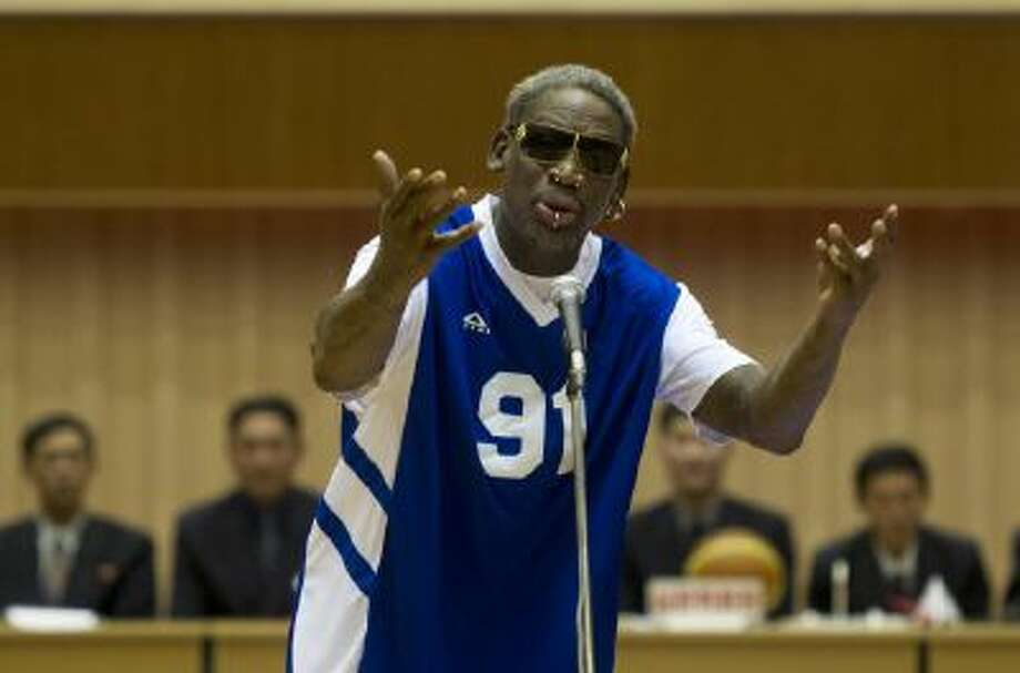 Dennis Rodman sings Happy Birthday to North Korean leader Kim Jong Un, seated above in the stands, on Wednesday,