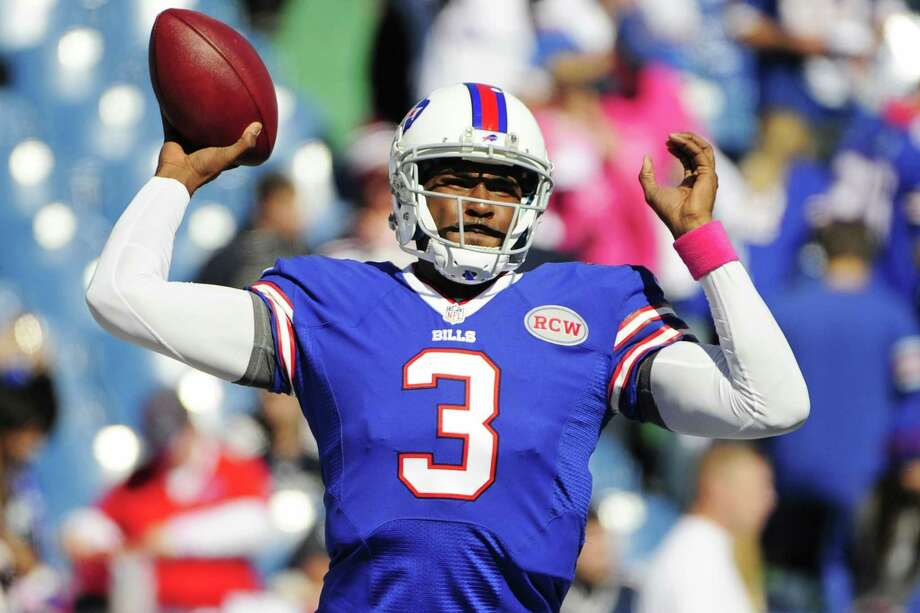 While the Jets have thrown quarterback Geno Smith into the fire this season, the Bills pulled quarterback EJ Manuel, above, from the starting lineup after a Week 4 loss. Photo: The Associated Press File Photo  / FR170498 AP