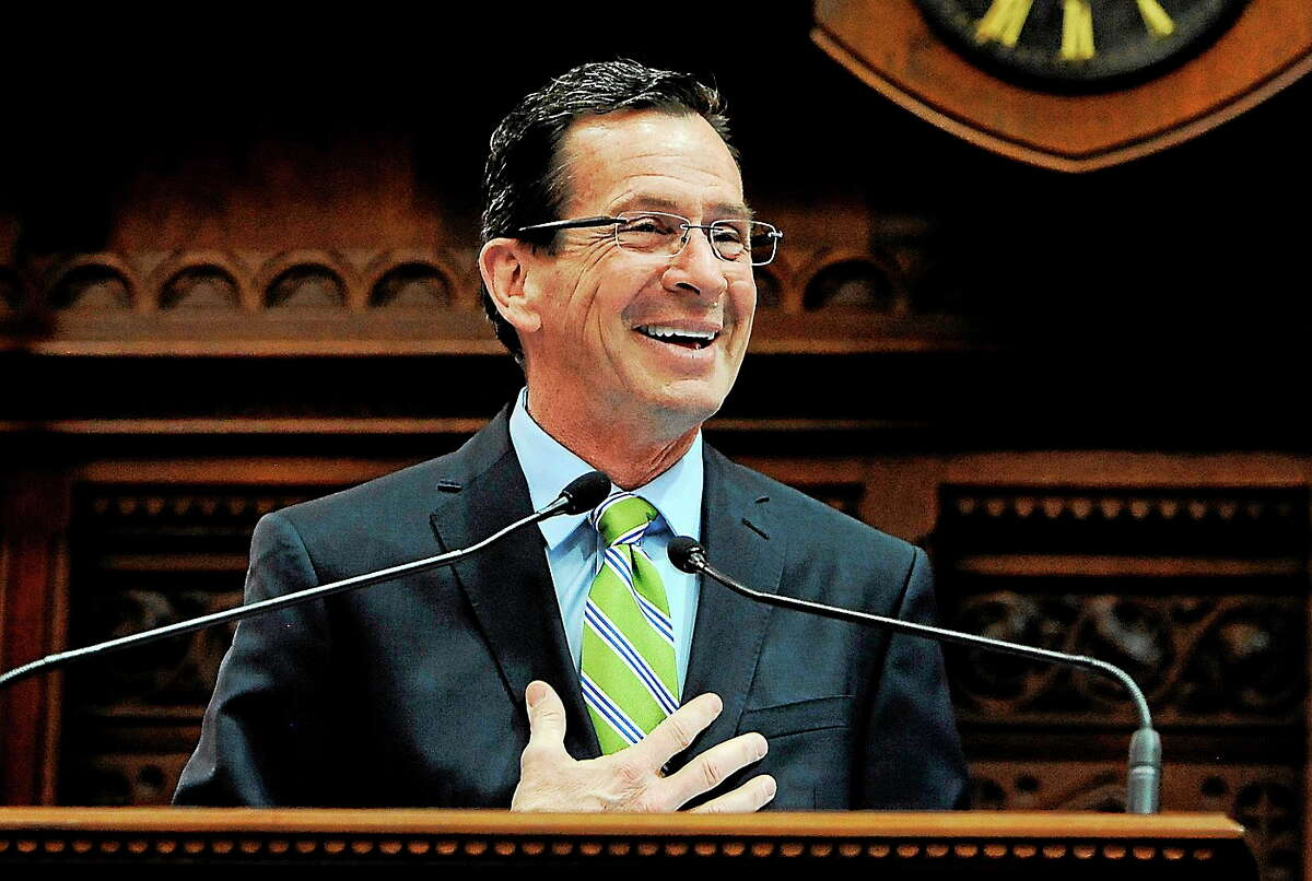 Connecticut Gov. Dannel P. Malloy addresses the House and the Senate in May.