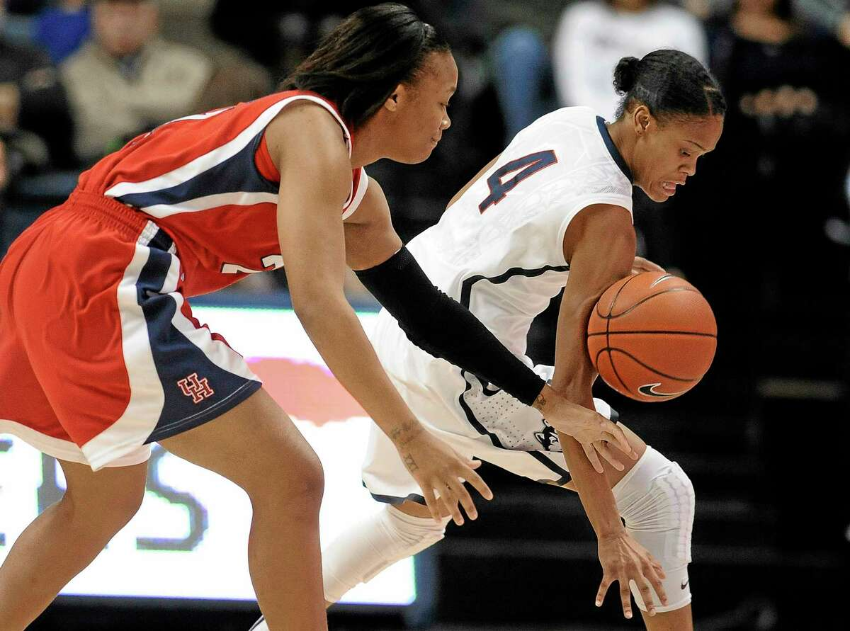 Jessica Hill — The Associated Press UConn's Moriah Jefferson steals the ball from Houston's Jessieka Palmer, left, during Tuesday's game.